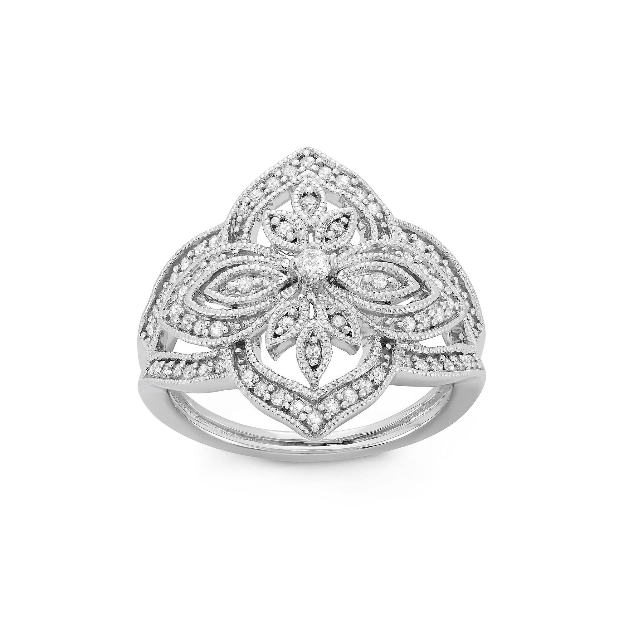 Womens 3/8 CT. T.W. White Diamond Sterling Silver Cocktail Ring