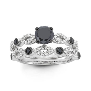 jcpenney.com | Womens 1 1/2 CT. T.W. Round Black Diamond Sterling Silver Stackable Ring
