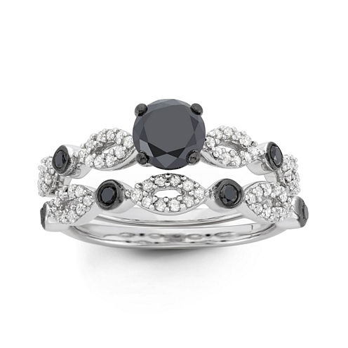 Womens 1 1/2 CT. T.W. Round Black Diamond Sterling Silver Stackable Ring
