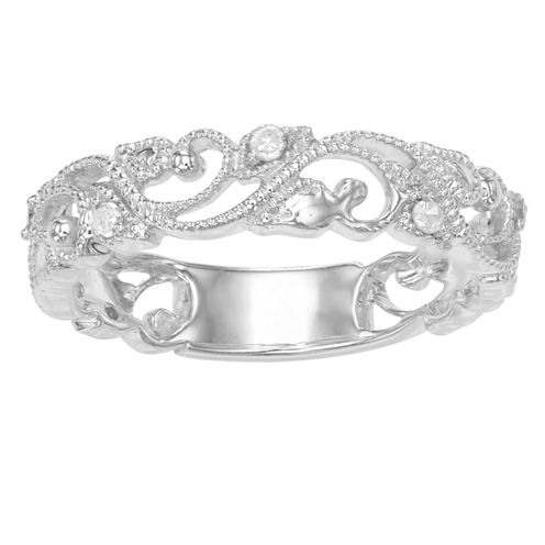 Womens 1/10 CT. T.W. White Diamond Sterling Silver Band