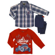 Novelty 3-pc. Tee, Shirt and Pants Set - Toddler Boys 2t-4t
