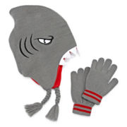 Shark Hat & Glove Set - Boys 8-20