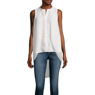 jcpenney.com | a.n.a® Chiffon Overlay Button Tank Top