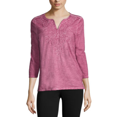 jcpenney.com | St. John's Bay® 3/4-Sleeve Washed Tee