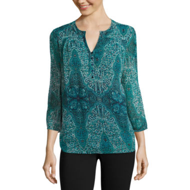 jcpenney.com | St. John's Bay® 3/4-Sleeve Pleated Yoke Blouse - Tall