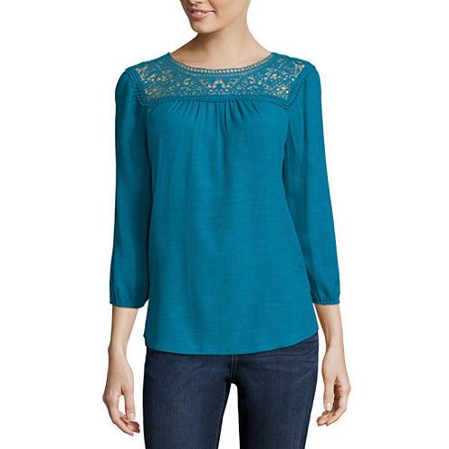 St. John's Bay® 3/4-Sleeve Lace-Yoke Blouse - Tall
