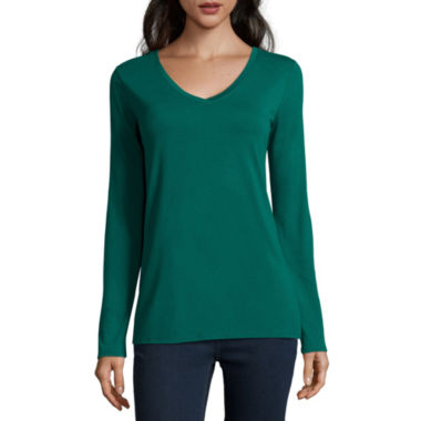 jcpenney.com | Stylus™ Long-Sleeve V-Neck T-Shirt
