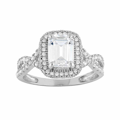 Diamonart Womens 2 CT. T.W. Lab Created Emerald White Cubic Zirconia 10K Gold Engagement Ring