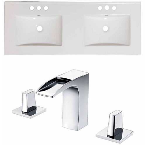 American Imaginations Ceramic Top Set In White Color With 8-in. o.c. CUPC Faucet
