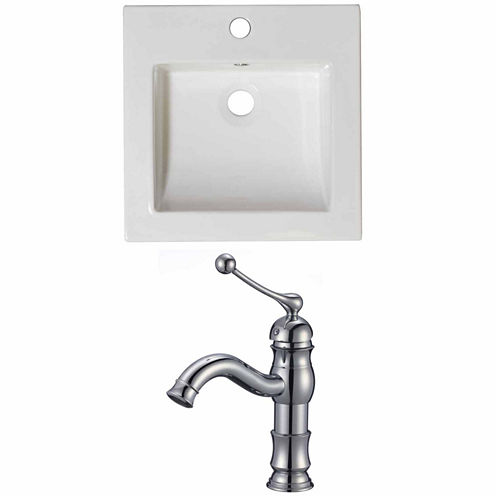 American Imaginations Ceramic Top Set In White Color With Single Hole CUPC Faucet