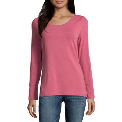 Ana long sleeve crew neck t shirt womens jcpenney for Long sleeve womens t shirts