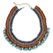 Decree® Gold-Tone Multicolor Bead Short Bib Necklace