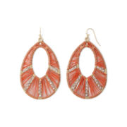 Decree® Gold-Tone Orange Teardrop Earrings