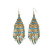 Decree® Gold-Tone Aqua Seedbead Drop Earrings