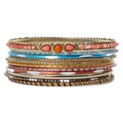 Decree® Antiqued Gold-Tone Multicolor Bead 11-pc. Bangle Set