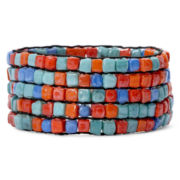 Decree® Five-Row Multicolor Square Bead Stretch Bracelet