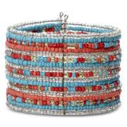 Decree® Silver-Tone Multicolor Seedbead Cuff Bracelet