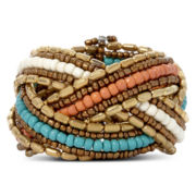 Decree® Gold-Tone Mulicolor Seedbead Braided Cuff Bracelet