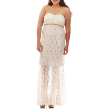 jcpenney.com | My Michelle® Strapless Embellished Lace Gown - Juniors Plus