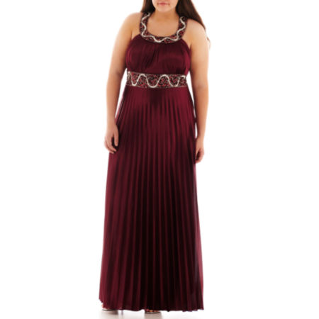 My Michelle Sleeveless Embellished Pleated Gown - Plus