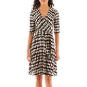 Studio 1® 3/4-Sleeve Houndstooth Wrap Dress - Petite