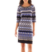 Studio 1® 3/4-Sleeve Embellished Print Shift Dress - Petite