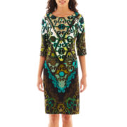 Studio 1® 3/4-Sleeve Print Dress - Petite