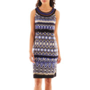 Studio 1® Sleeveless Ribbon-Neck Print Dress - Petite