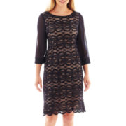 R&M Richards Long-Sleeve Lace Shift Dress - Petite