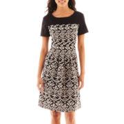 Perceptions Short-Sleeve Print Dress