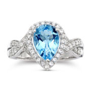 Pear-Shaped Blue Topaz & White Sapphire Ring