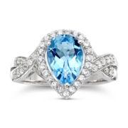 Pear-Shaped Blue Topaz & White Sapphire Ring