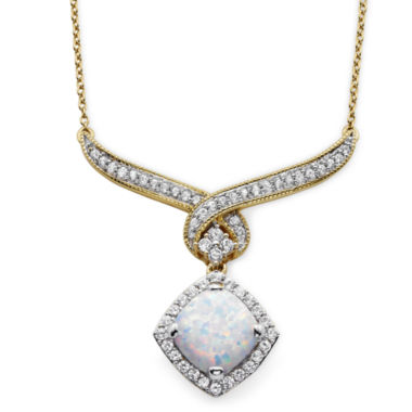 jcpenney.com | Lab-Created Opal & White Sapphire Pendant Necklace