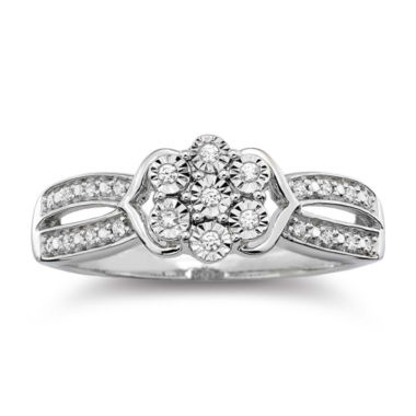 jcpenney.com | diamond blossom 1/10 CT. T.W. Diamond Cluster Sterling Silver Ring