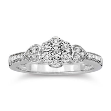 jcpenney.com | diamond blossom 1/10 CT. T.W. Diamond Cluster Heart Sterling Silver Ring