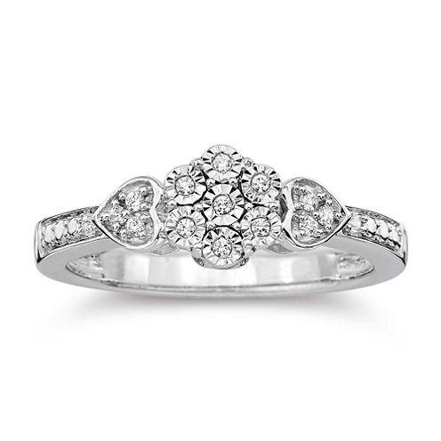diamond blossom 1/10 CT. T.W. Diamond Cluster Heart Sterling Silver Ring