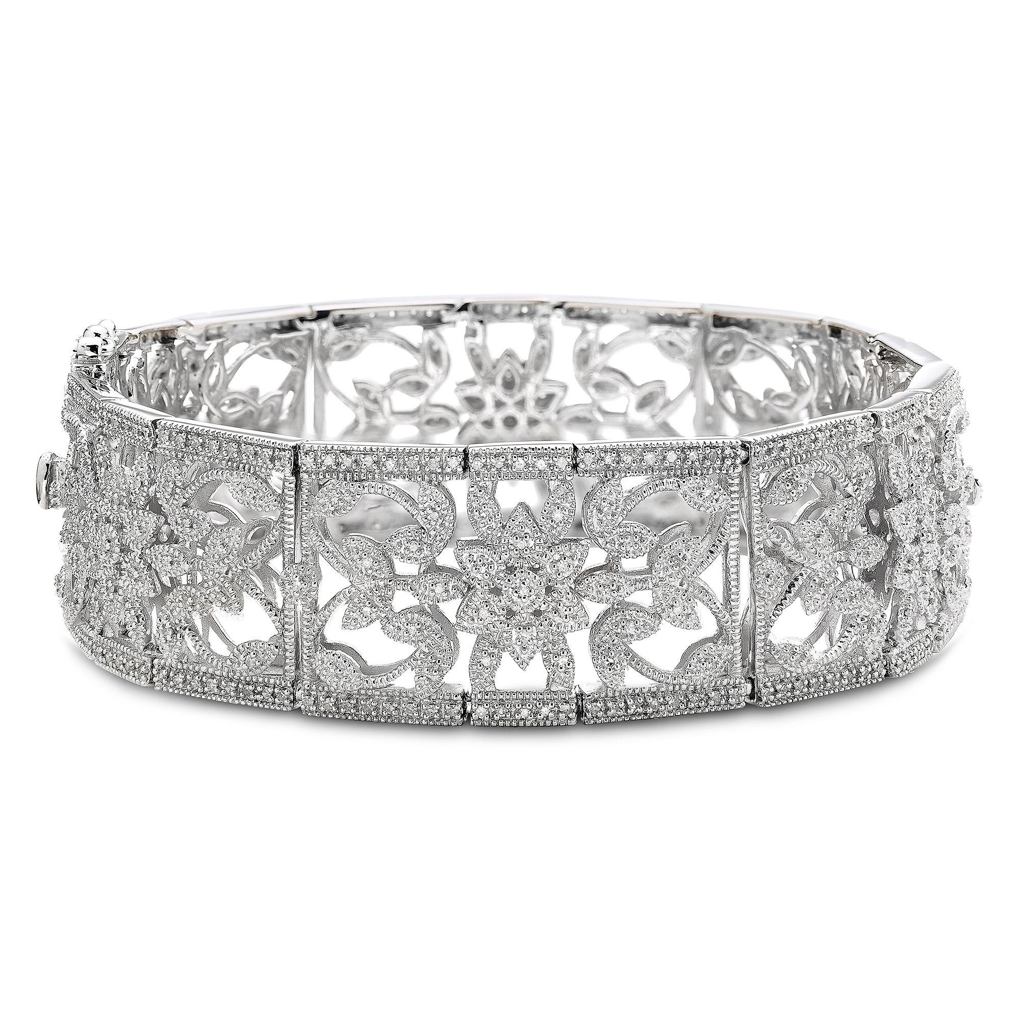 Vintage Inspirations™ 1/5 CT. T.W. Diamond Sterling Silver Bracelet plus size,  plus size fashion plus size appare