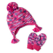Toby & Me Space-Dyed Knit Hat and Mittens Set - Girls 2t-6t