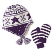 Toby & Me Critter Jacquard Knit Hat and Mitten Set - Girls 2t-6t