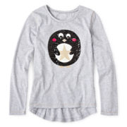 Arizona Long-Sleeve Critter Sequin Tee - Girls 6-16 and Plus