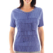 Alfred Dunner® Lake Como Short-Sleeve Tiered-Ruffle Top