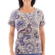 Alfred Dunner® Lake Como Short-Sleeve Tiered Paisley Print Top