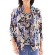 Alfred Dunner® Lake Como 3/4-Sleeve Bouquet Floral Layered Top with Necklace