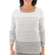 Alfred Dunner® Lake Como 3/4-Sleeve Ombré Striped Sweater