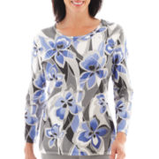 Alfred Dunner® Lake Como 3/4-Sleeve Abstract Floral Sweater