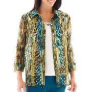 Alfred Dunner® Ann Arbor 3/4-Sleeve Abstract Burnout Layered Top