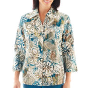 Alfred Dunner® Ann Arbor 3/4-Sleeve Woodblock Print Top