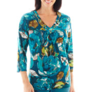 Alfred Dunner® Ann Arbor 3/4-Sleeve Floral Print Top - Petite