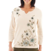 Alfred Dunner® Ann Arbor 3/4-Sleeve Embroidered Sweater