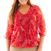 St. John's Bay® 3/4-Sleeve Chiffon Peasant Top - Tall
